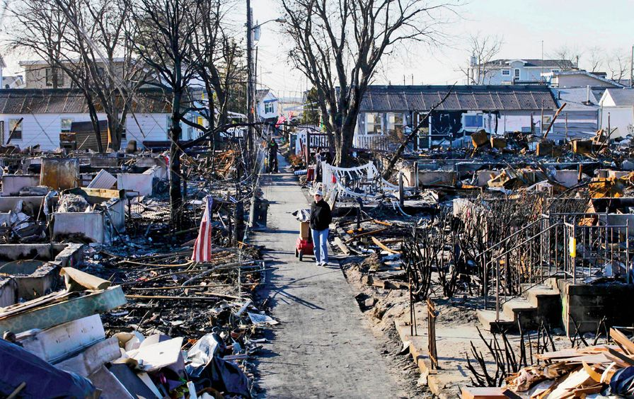 The wreckage: A street in Breezy Point, a section of the Rockaways, two weeks after Sandy.