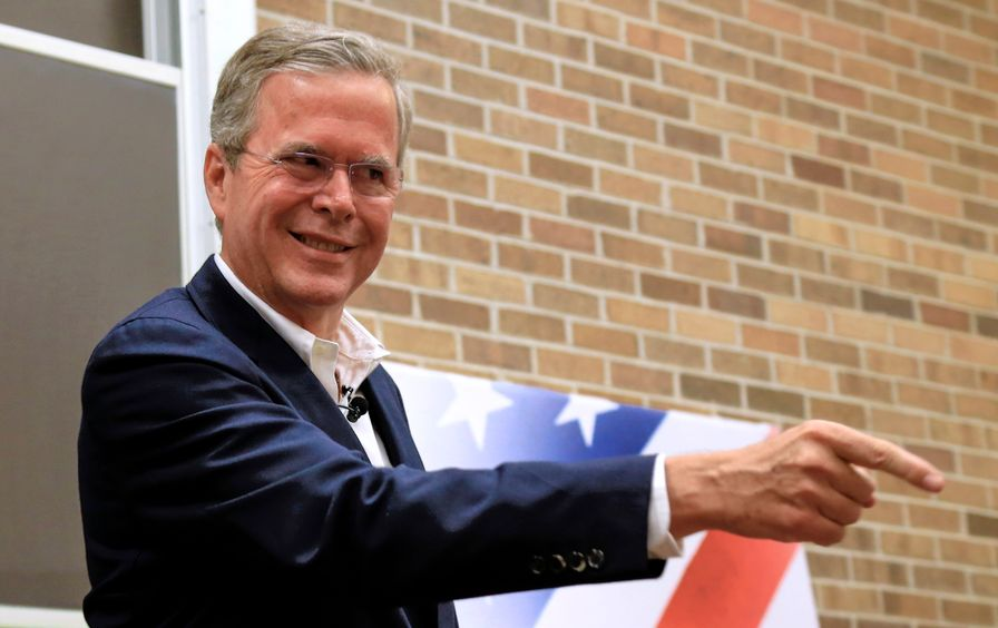 Jeb Bush points during a meet and greet in Sioux City, Iowa.