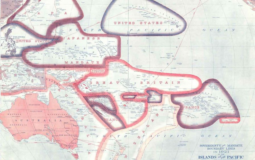 Mandate boundary lines in the Pacific islands, 1921.
