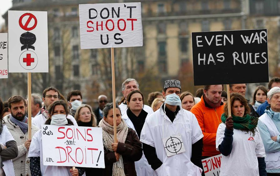 The staff of Medécins Sans Frontières (MSF), also known as Doctors Without Borders, demonstrates in Geneva, November 3, 2015.