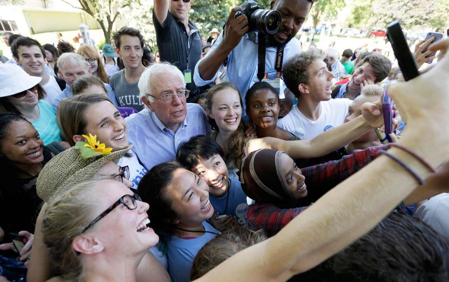 Democratic presidential candidate Bernie Sanders and supporters