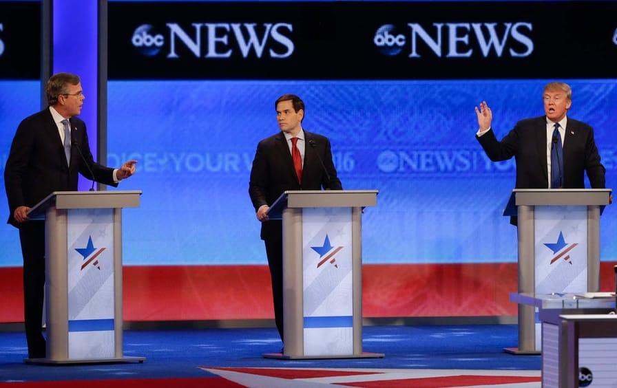 Presidential candidates Jeb Bush, Donald Trump, and Marco Rubio