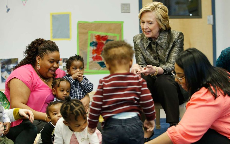 Hillary Clinton at Childcare Center in Brooklyn
