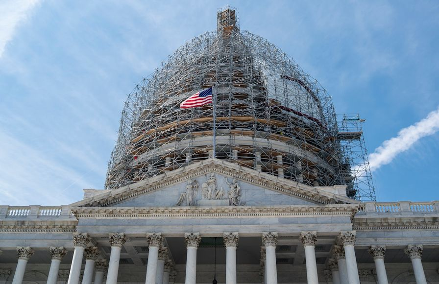 The dome of the Capitol Building in Washington, D.C., under renovation.