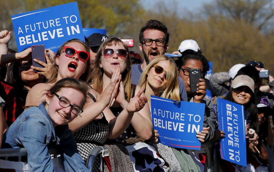 Sanders Supporters in Prospect Park