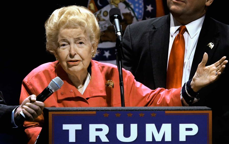 Phyllis Schlafly speaks at Trump rally