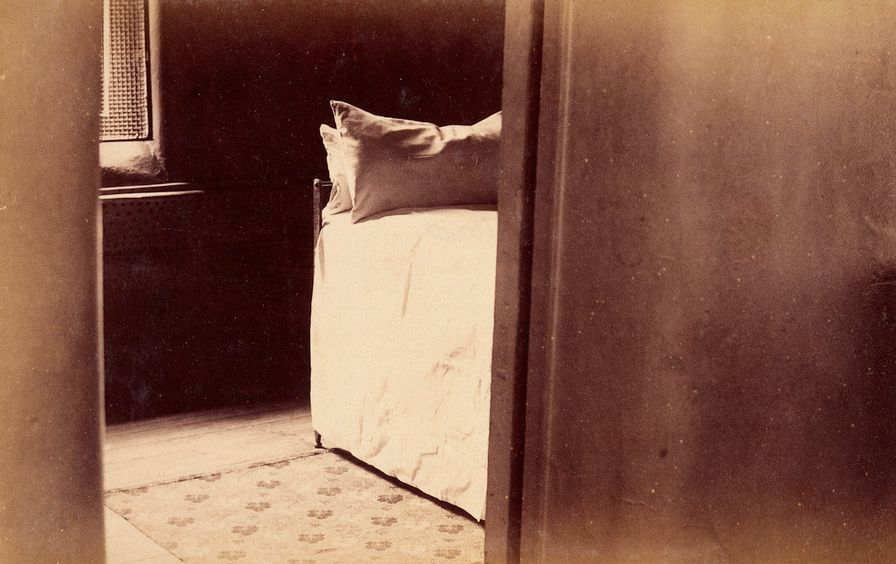 L0031141 Bellevue Hospital, New York City: a cell with bed seen throu