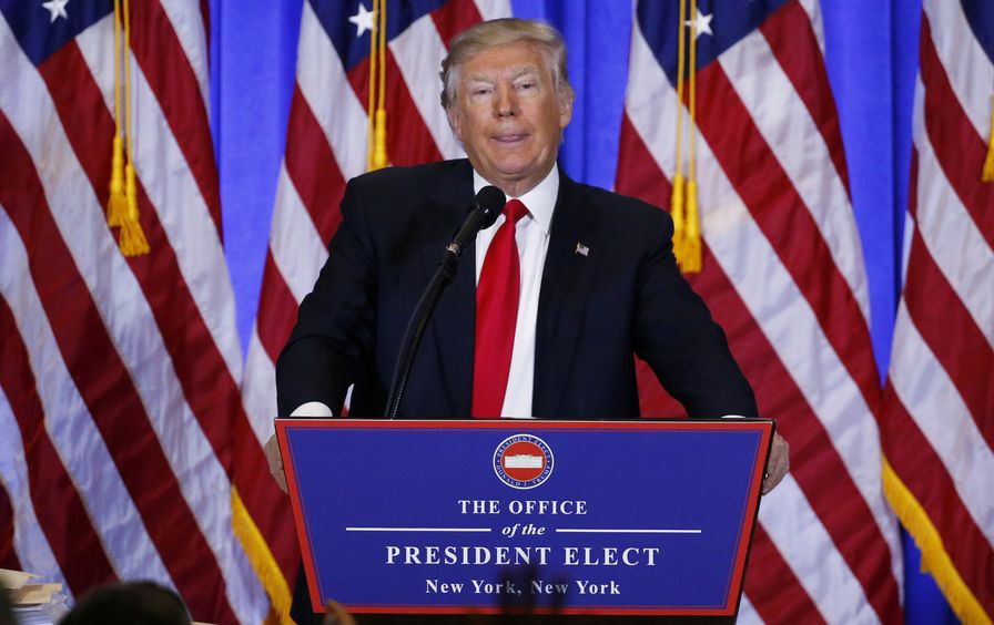 U.S. President-elect Donald Trump speaks during a news conference in the lobby of Trump Tower in Manhattan, New York City