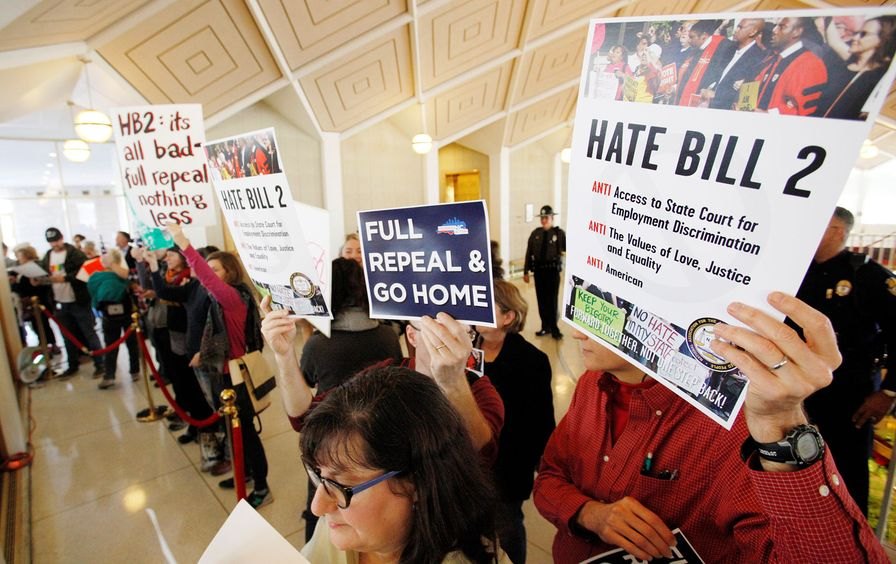 Opponents of North Carolina's HB2 law protest