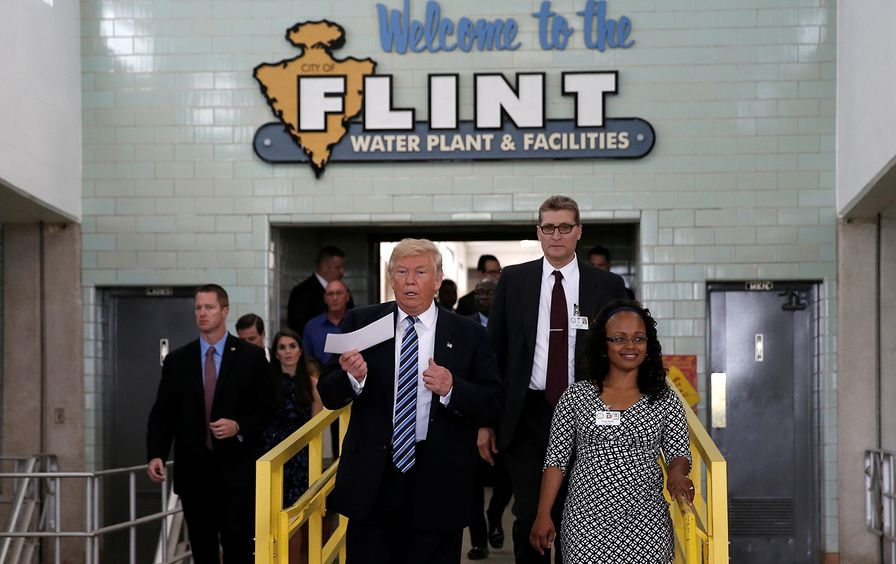 Trump touring the Flint water plant