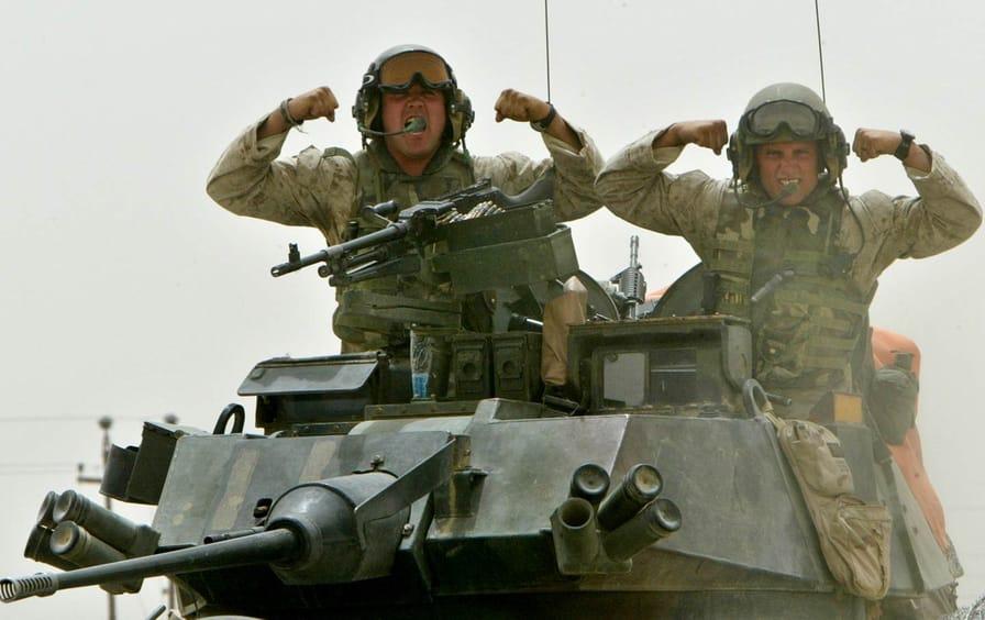 US marines outside of Falluja in 2004.