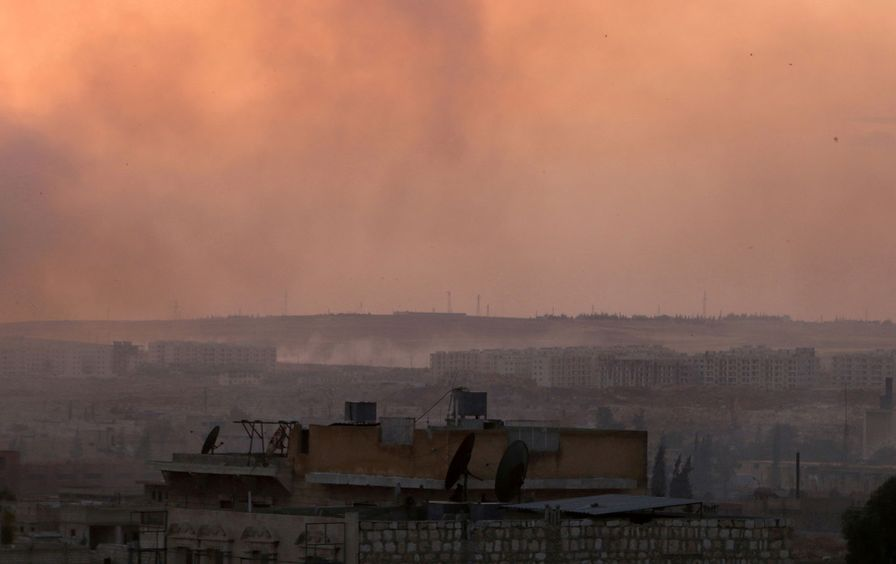 Smoke rises after airstrikes on Aleppo's Castello road, Syria June 2, 2016.