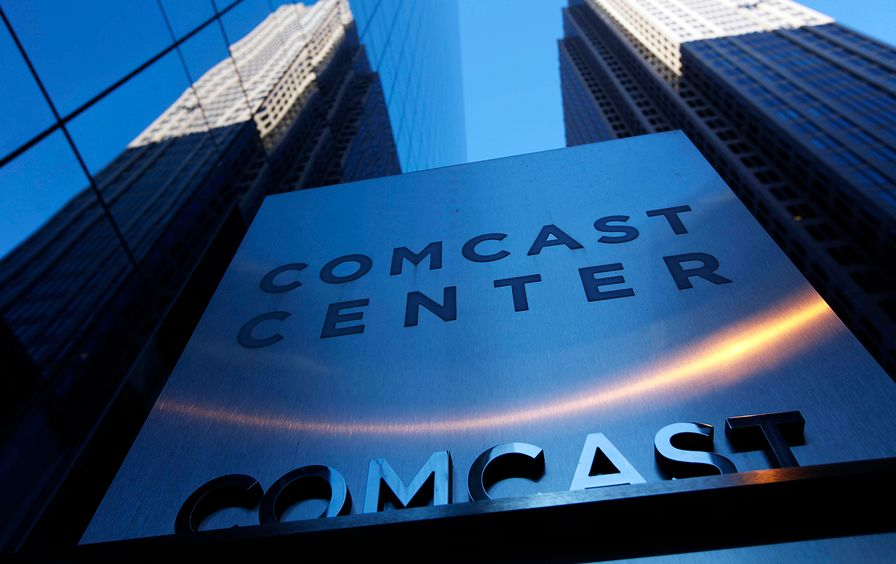 A sign outside the Comcast Center in Philadelphia.