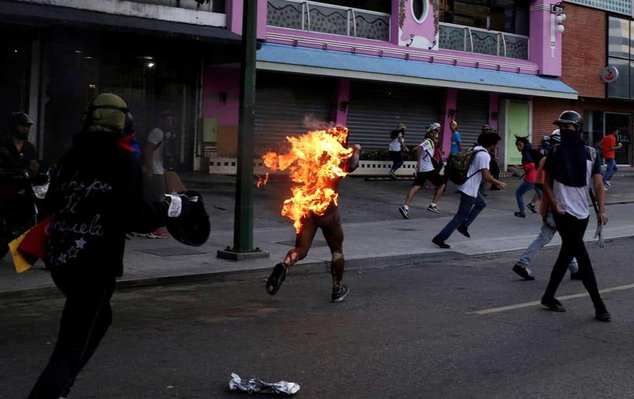Man on Fire in Caracas