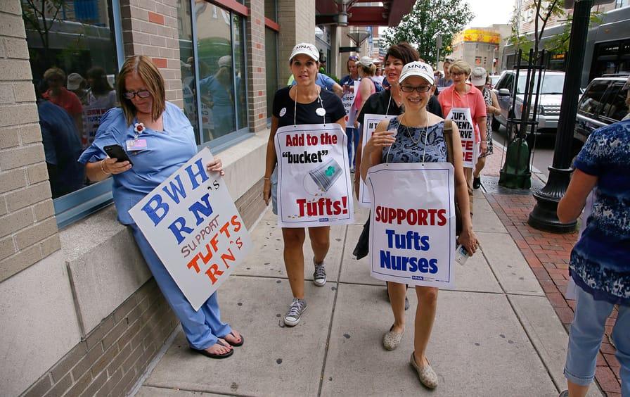 Tufts Medical Center nurses picket