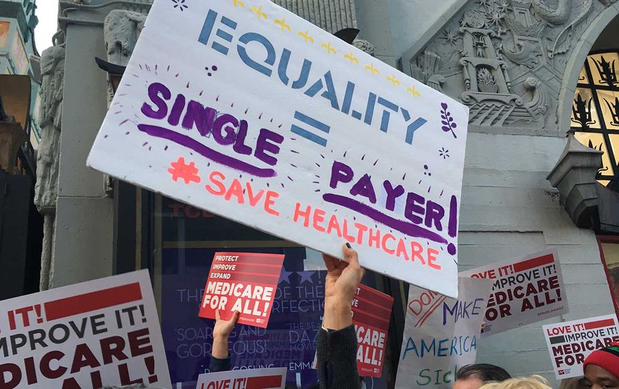 Nurses gather to protest healthcare cuts at the National Day of Action in Los Angeles on January 15, 2017.