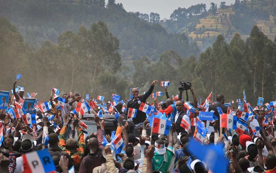 Rwandan President Paul Kagame attends a campaign rally