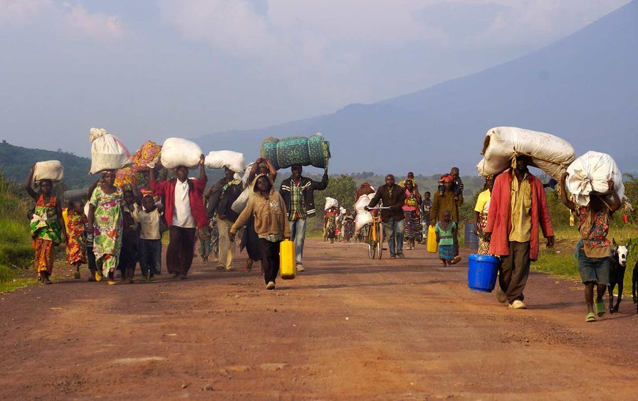 Displaced Congolese families