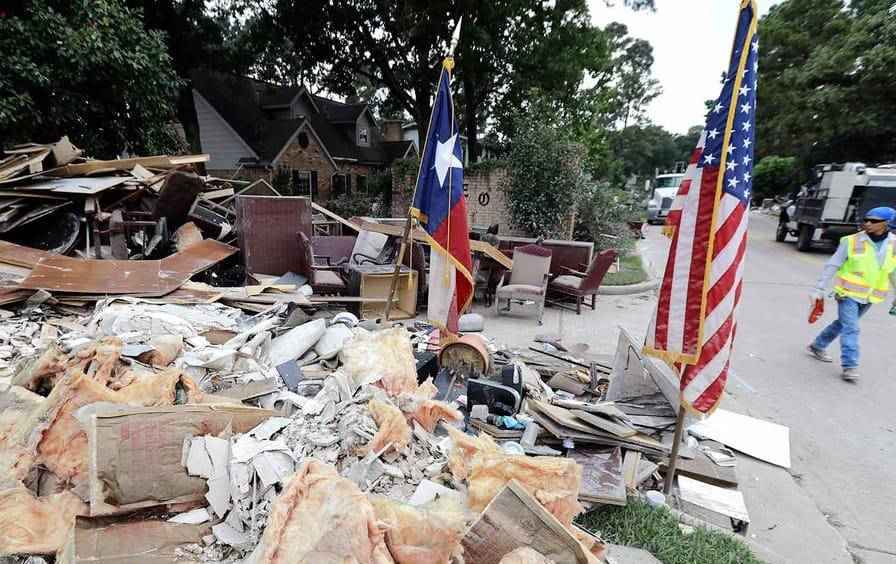 Harvey Damage TX Flag