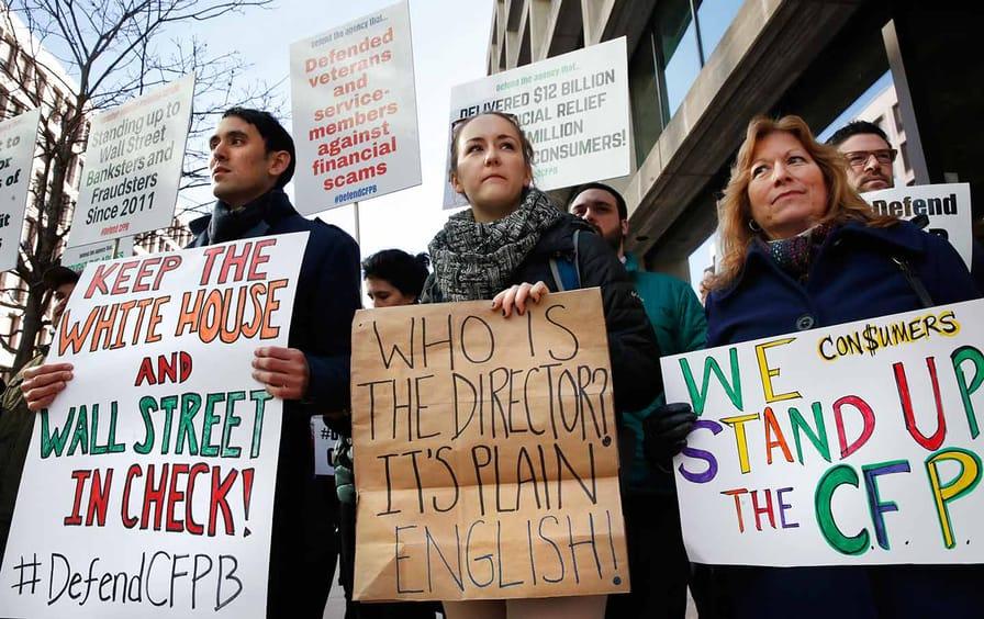 Consumer advocates outside CFPB