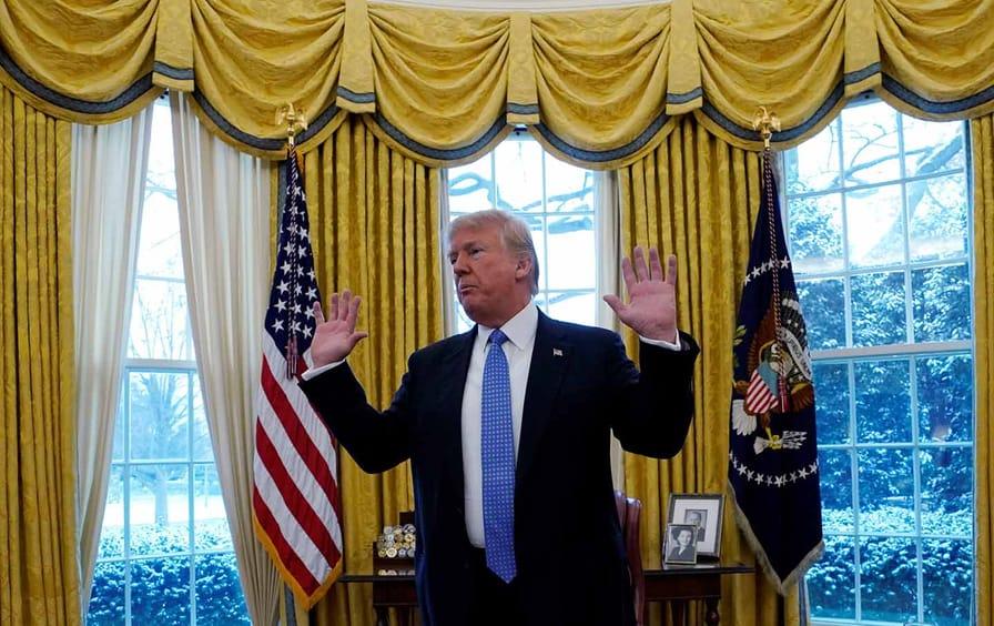 Trump Oval Office Hands Raised