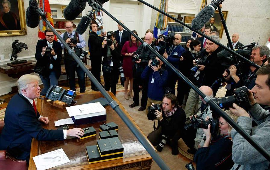 Trump Speaks with Reporters