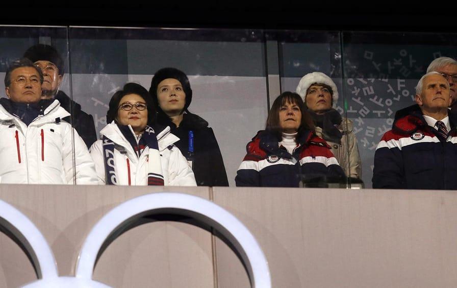 Moon, Pence, Kim Yo-jong Pyeongchang Olympics