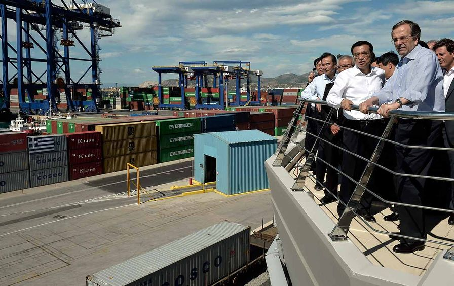 Greek and Chinese prime ministers on ship at Piraeus port
