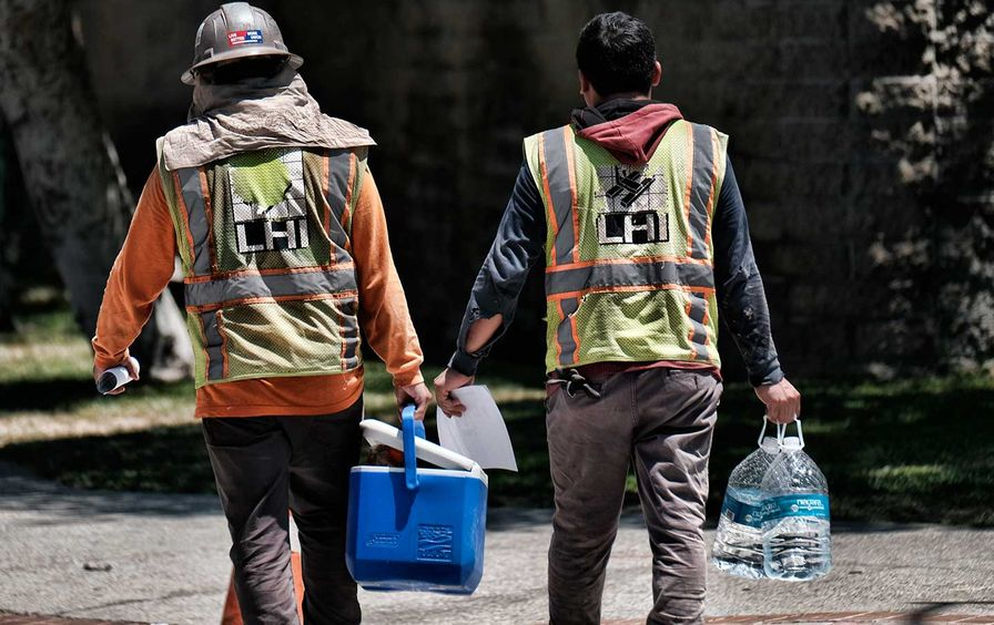 Construction workers heat