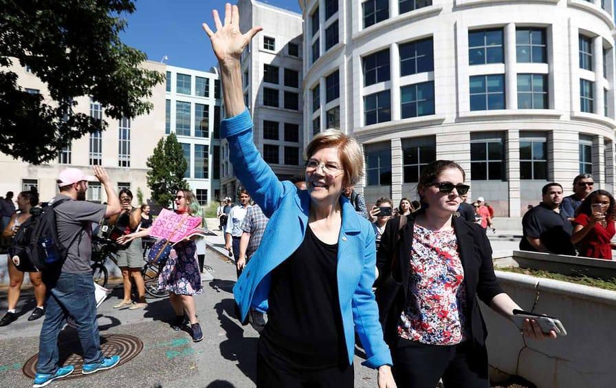 Elizabeth Warren Walking Waving