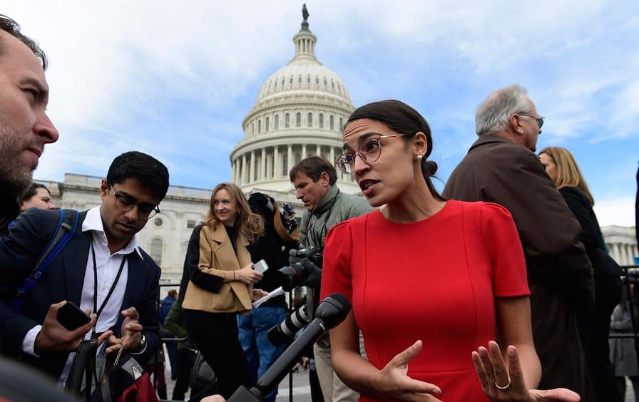 Alexandria Ocasio-Cortez outside the Capitol Building.