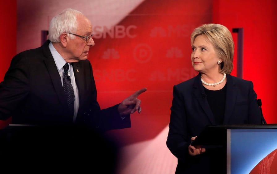 Sanders and Clinton in 2016 presidential debate
