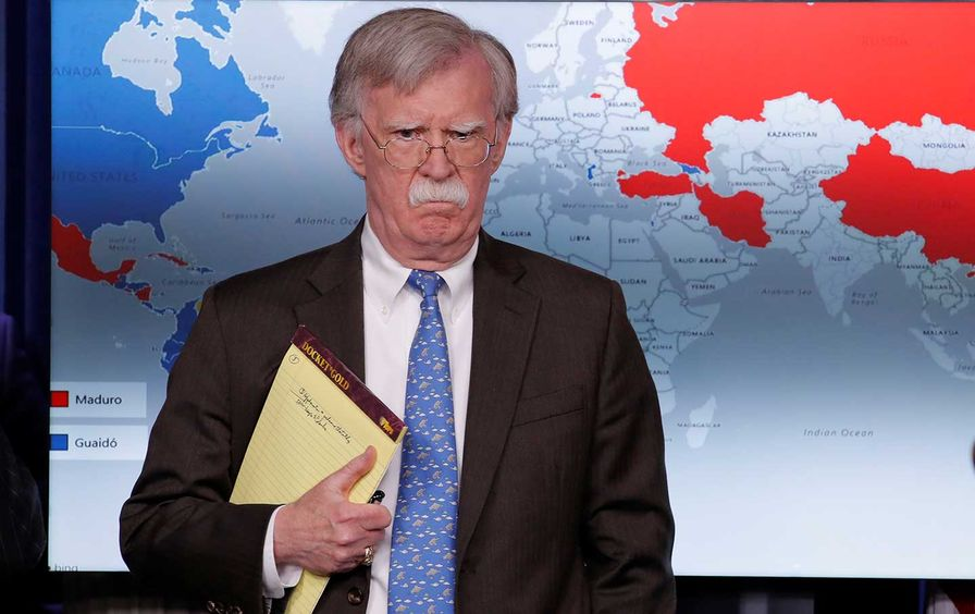 John Bolton and a map