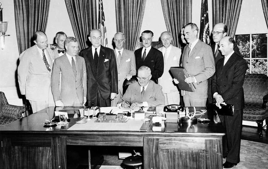 Truman signs the North Atlantic Treat in 1949