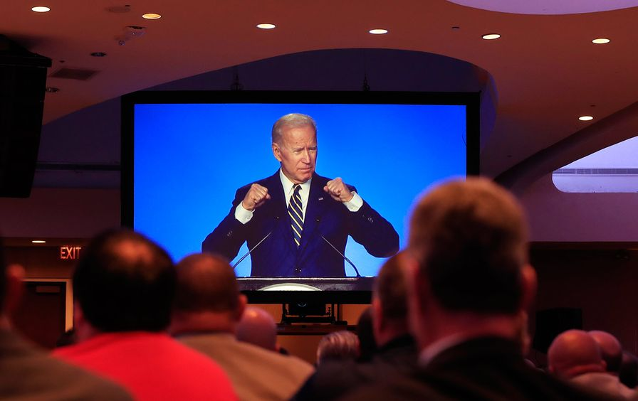 Joe Biden speaking at the International Brotherhood of Electrical Workers construction and maintenance conference