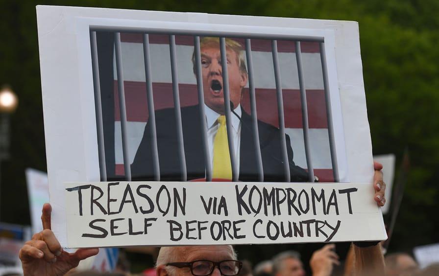Anti-Trump protester's sign