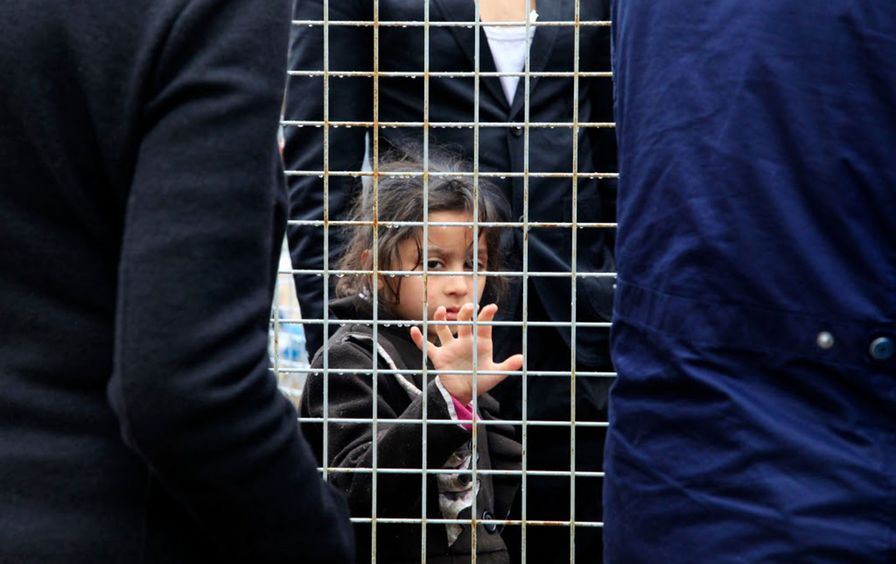 Refugee child in Hungary
