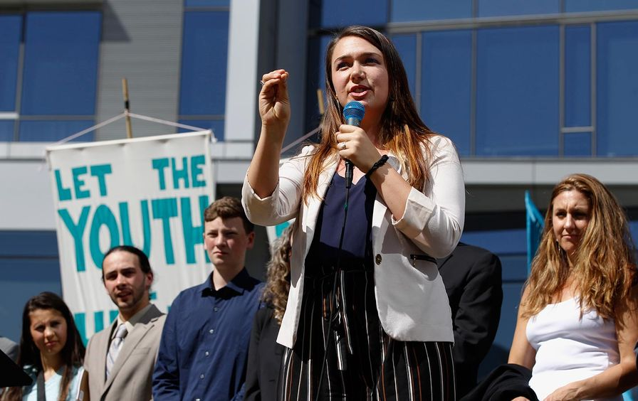 Kelsey Juliana speaks at climate rally