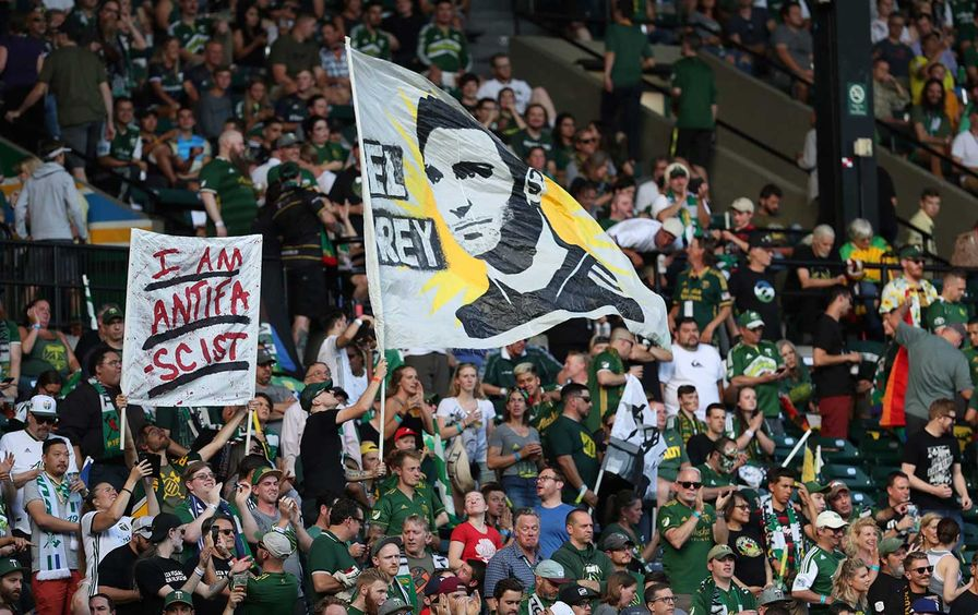 Portland Timbers soccer game protest