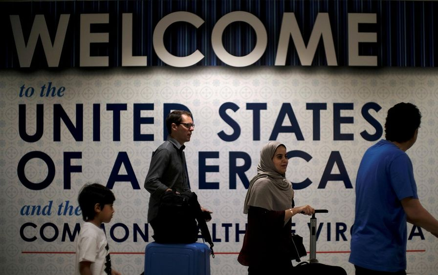 Immigrants in Dulles Airport