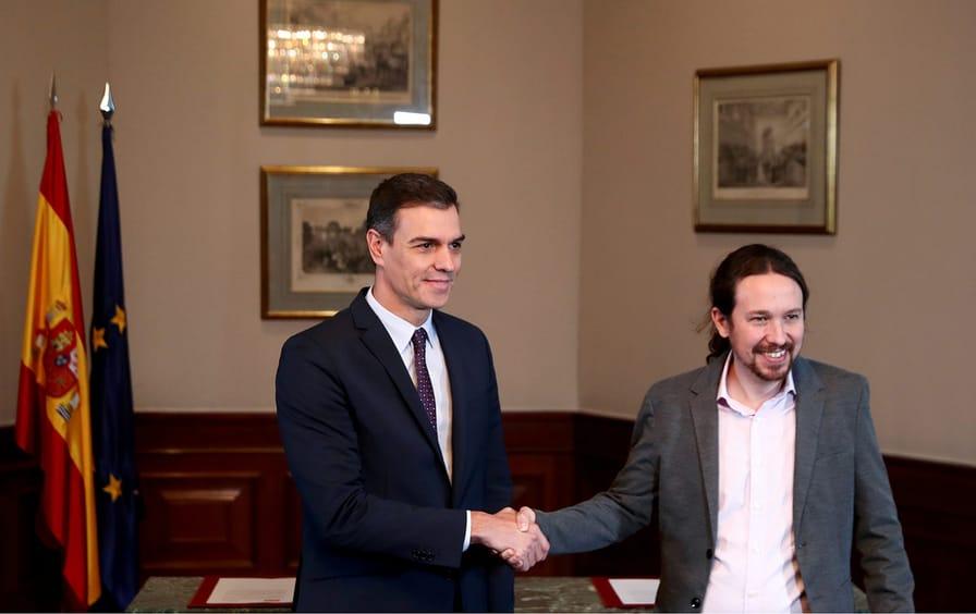 Spain Sanchez and Iglesias Unidas Podemos