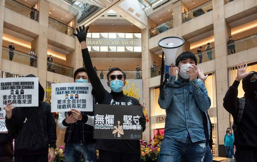 Protestors at a Hong Kong mall