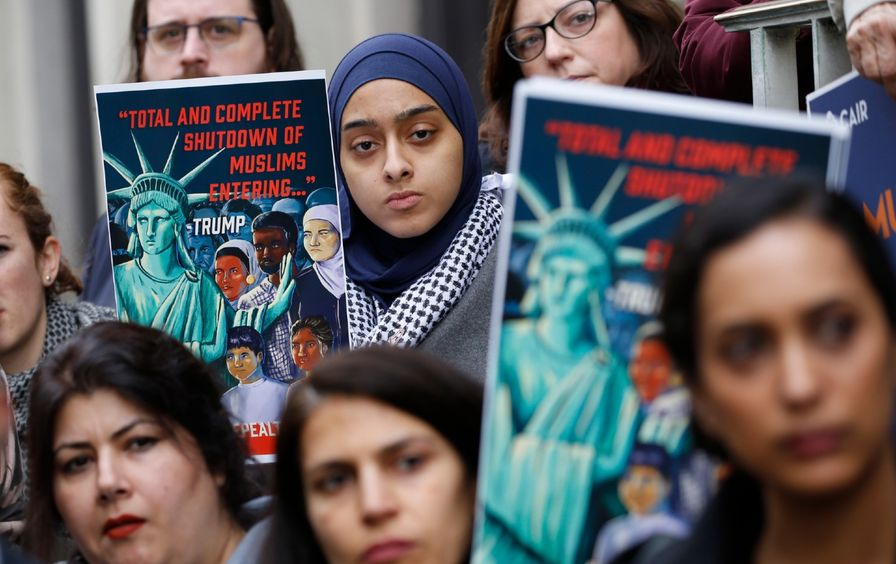 Demonstrators at a rally