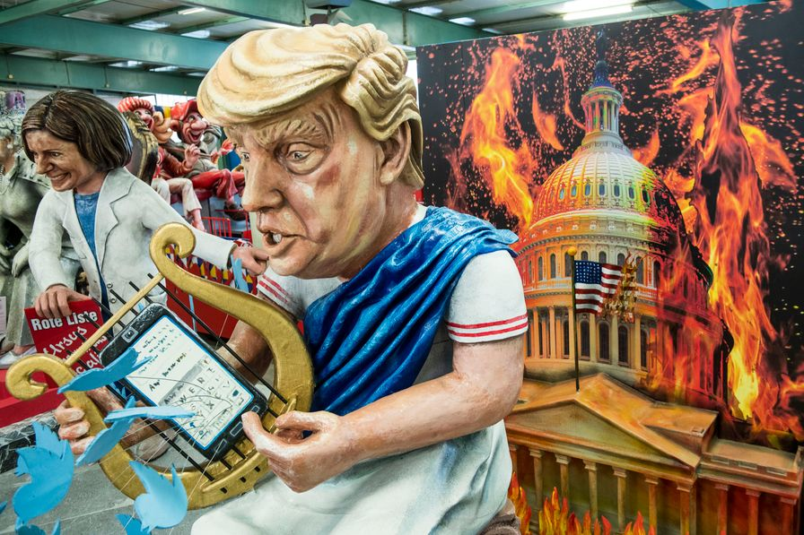 Float of Trump at a carnival event.