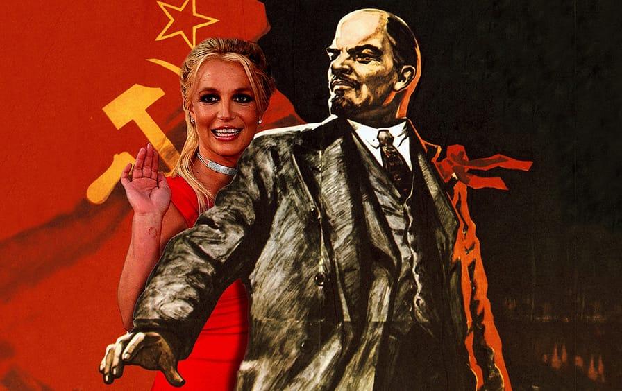 Vladimir Lenin holds back Britney Spears.
