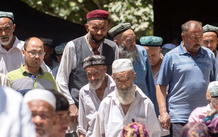 Muslim men after prayer