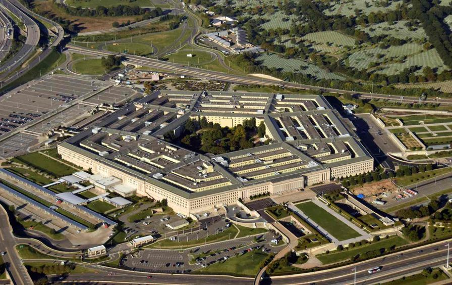 Aerial view image of the Pentagon.