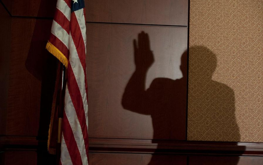 The shadow of Bernie Sanders, with his hand raised, next to an American flag