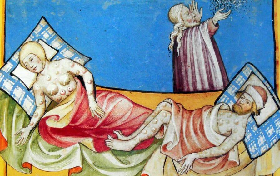 Bubonic plague illustration