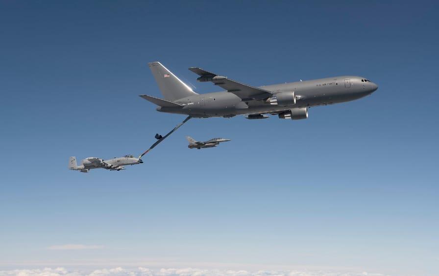 A Boeing KC-46 Pegasus refuels an A-10 Thunderbolt II